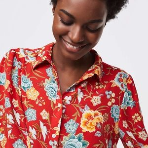 NWT LOFT Poppy Bloom Floral Utility Blouse